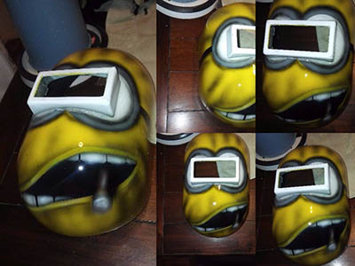 Minion Boss custom painted pipeliner welding hood